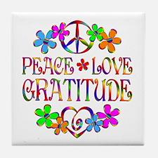 Peace Love Gratitude Tile Coaster