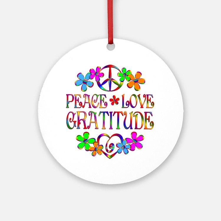 Peace Love Gratitude Ornament (Round)