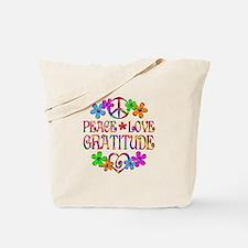 Peace Love Gratitude Tote Bag