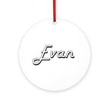 Evan Classic Style Name Ornament (Round)