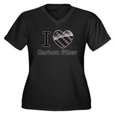 I love Carbo Women's Plus Size V-Neck Dark T-Shirt