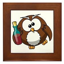 Drunk Owl Framed Tile