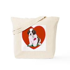 St. Bernard Pup/Heart Tote Bag