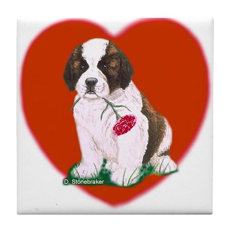 St. Bernard Pup/Heart Tile Coaster