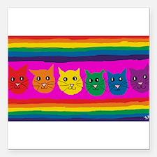 "gay rainbow cats art PAI Square Car Magnet 3"" x 3"""