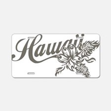 Hawaii Script with Tropical Flower Aluminum Licens