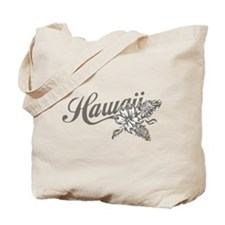Hawaii Script with Tropical Flower Tote Bag