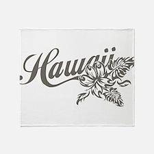 Hawaii Script with Tropical Flower Throw Blanket