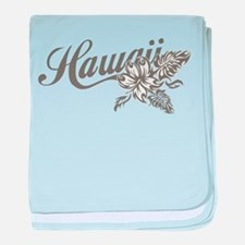 Hawaii Script with Tropical Flower baby blanket