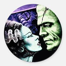Bride And Frankenstein Round Car Magnet