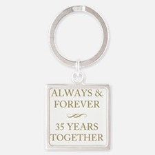 35 Years Together Square Keychain