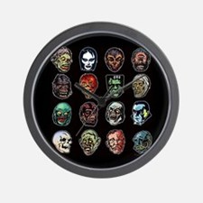 Horror Movie Monsters Masks Wall Clock