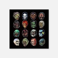 "Horror Movie Monsters Masks Square Sticker 3"" x 3"""