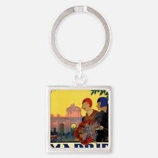 Funny Spain Square Keychain