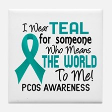 PCOS MeansWorldToMe2 Tile Coaster