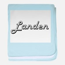 Landen Classic Style Name baby blanket