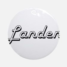 Landen Classic Style Name Ornament (Round)
