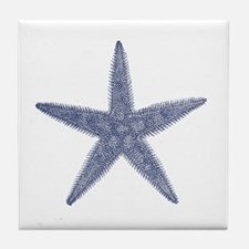 Vintage Star Fish Print Tile Coaster