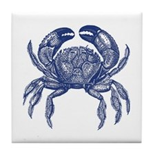 Vintage Crab Print Tile Coaster