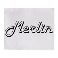 Merlin Classic Style Name Throw Blanket