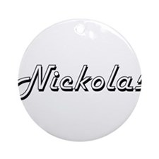 Nickolas Classic Style Name Ornament (Round)