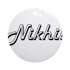 Nikhil Classic Style Name Ornament (Round)
