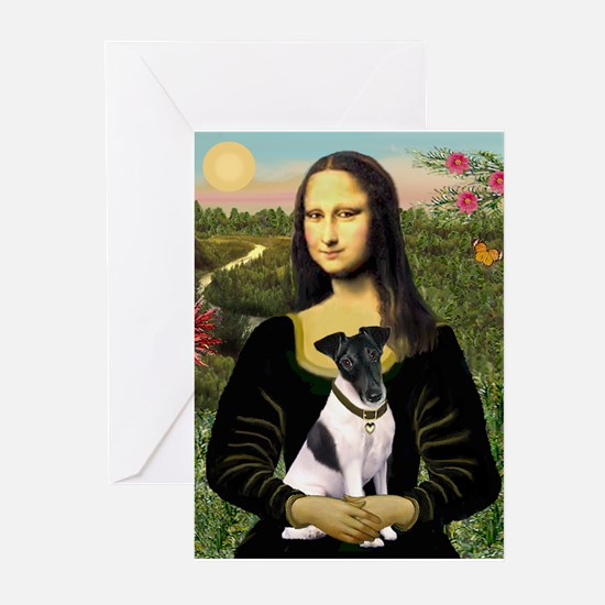 Mona Lisa (new) & Smooth Fox Terrier Greeting Card