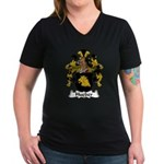 Hueber Family Crest Women's V-Neck Dark T-Shirt