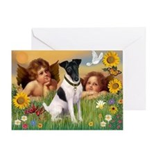 Two Angels & Fox Terrier (#1) Greeting Card