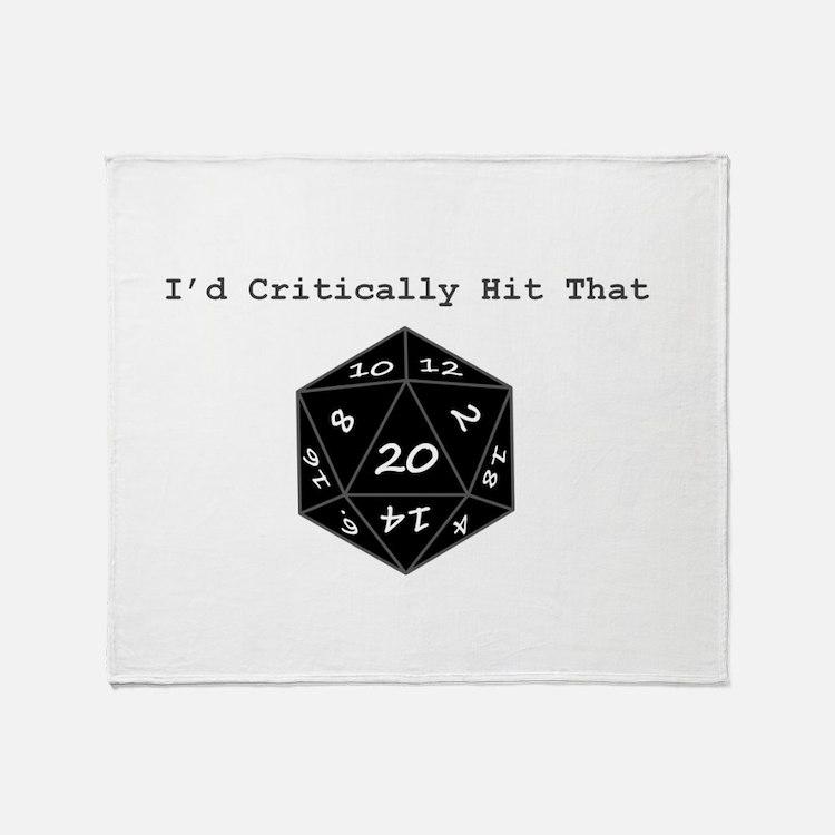 Id Critically Hit That - Black Throw Blanket