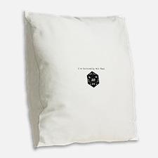 Id Critically Hit That - Black Burlap Throw Pillow