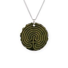 Labyrinth stone grass Necklace Circle Charm