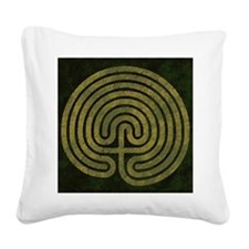 Labyrinth stone grass Square Canvas Pillow