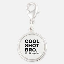 Cool Shot Bro Silver Round Charm