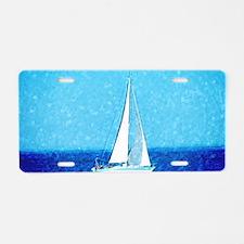 Sailboat at sea Aluminum License Plate