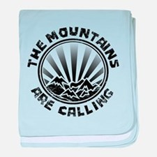 The Mountains are Calling. baby blanket