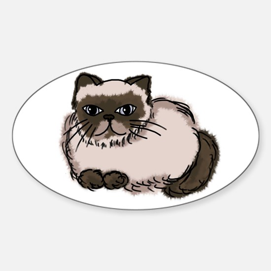 Himalayn Cat Lover Oval Decal