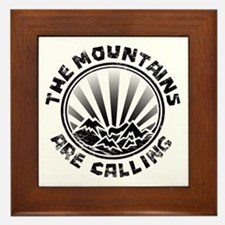 The Mountains are Calling. Framed Tile