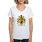 Haffner Family Crest  Women's V-Neck T-Shirt