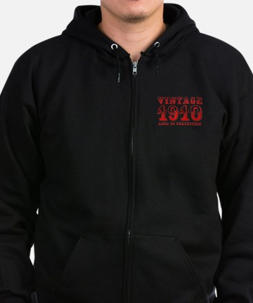 VINTAGE 1910 aged to perfection-red 400 Zip Hoodie