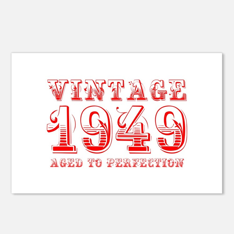 VINTAGE 1949 aged to perfection-red 400 Postcards