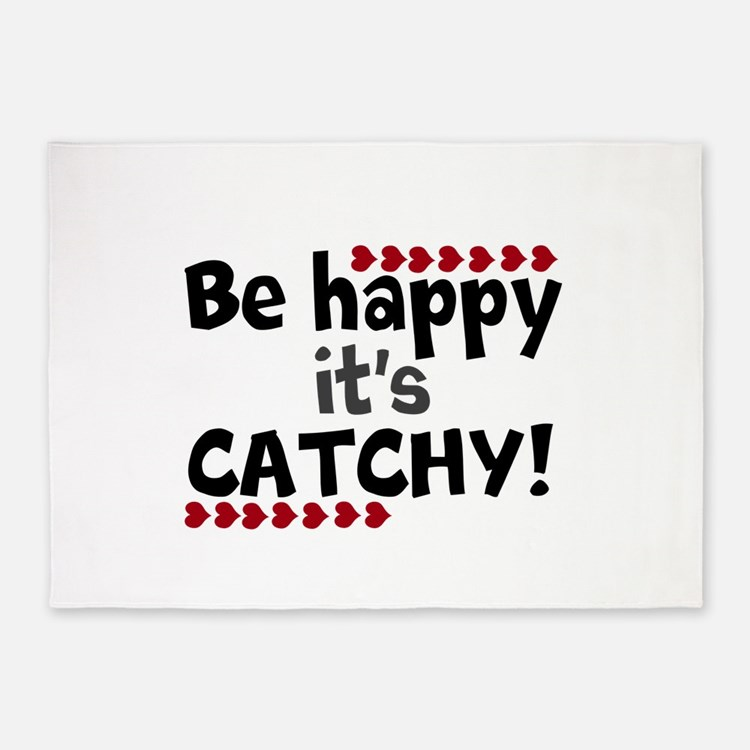 BE HAPPY Positive Thinking Quote 5'x7'Area Rug