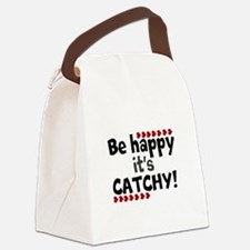 BE HAPPY Positive Thinking Quote Canvas Lunch Bag