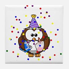 Party Owl Confetti Tile Coaster