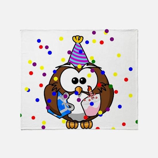 Party Owl Confetti Throw Blanket