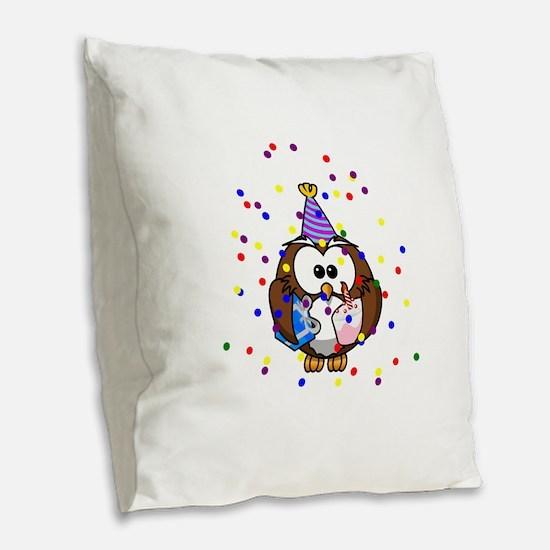 Party Owl Confetti Burlap Throw Pillow
