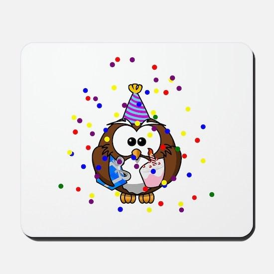 Party Owl Confetti Mousepad