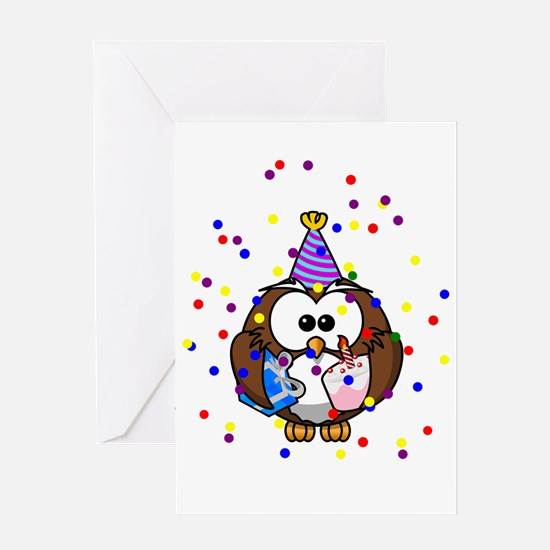 Party Owl Confetti Greeting Cards