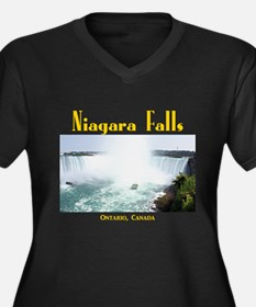 Niagara Fall Women's Plus Size V-Neck Dark T-Shirt