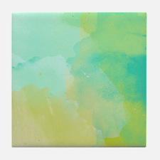 Blue Green Watercolor Tile Coaster